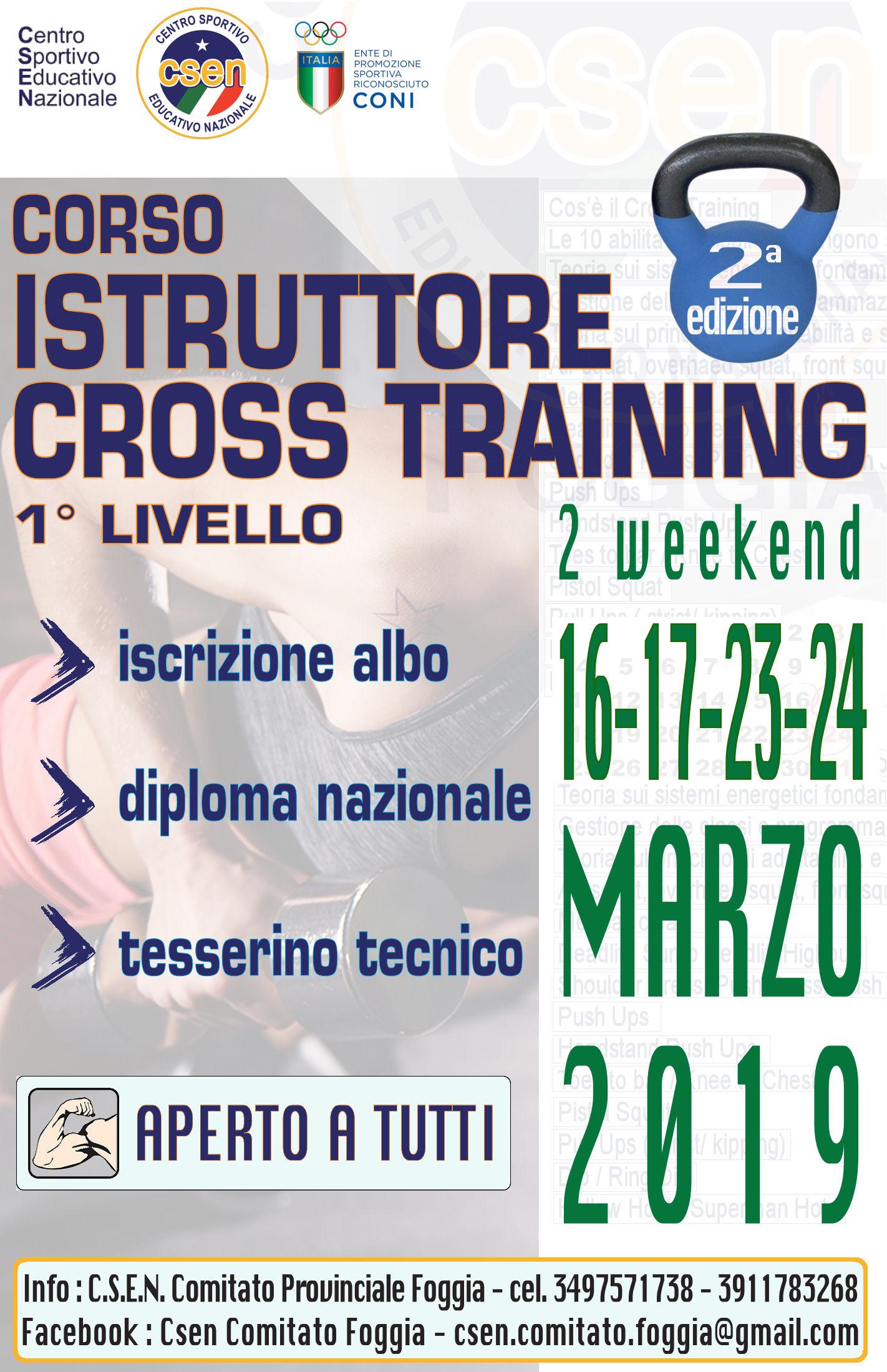 Corso istruttore Crosstraining L1