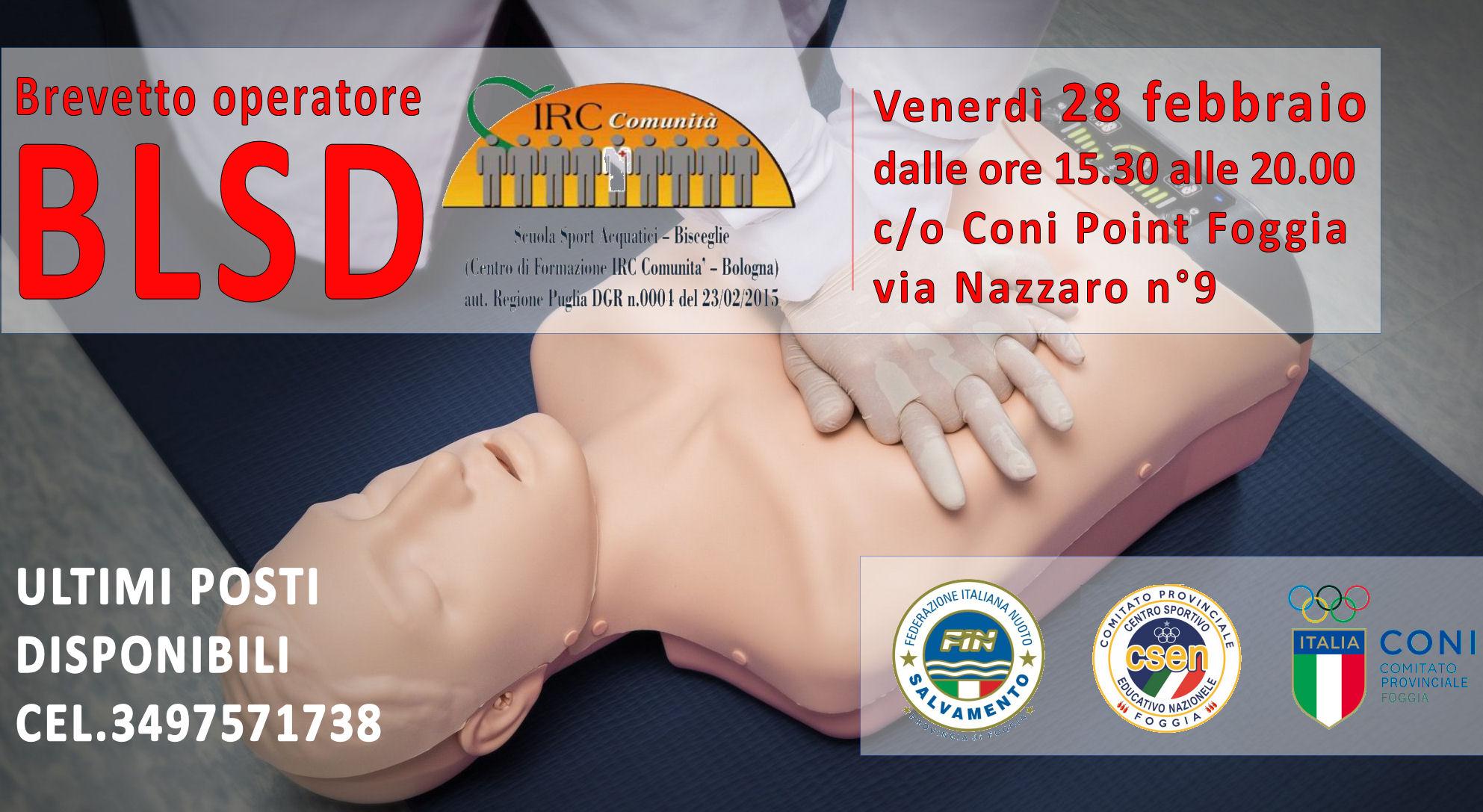 corso Operatore BLSD: defibrillatore    28 febbraio 2020