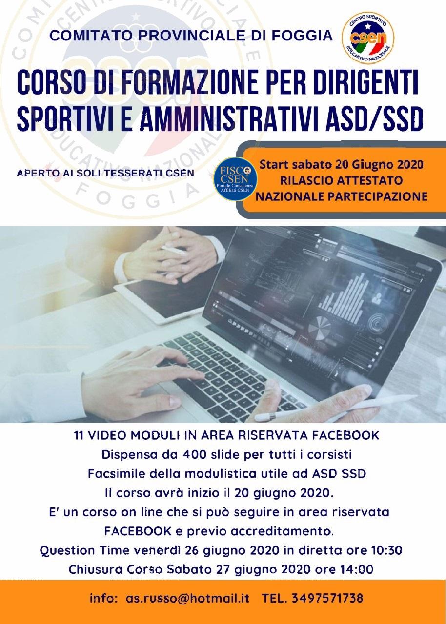 Corso Dirigenti Sportivi – Fisco Csen